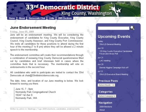 Screenshot for the 33rd District Democrats website.