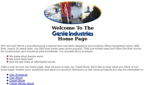 Screenshot of Genielift Website circa 1994