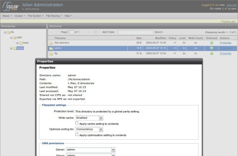 Screenshot of the Isilon Filesystem Manager