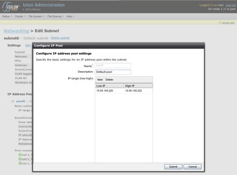 Screenshot of the Isilon Network Configuration Tool