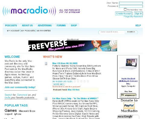Screenshot of MacRadio