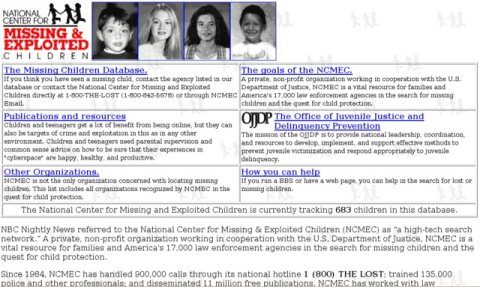 Screenshot of MissingKids.org circa 1995