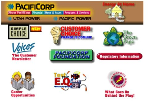 Screenshot of PacificCorp website circa 1995